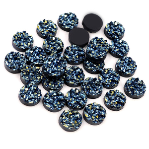 New Fashion 40pcs 8mm 10mm 12mm Purple blue Colors Natural ore Style Flat back Resin Cabochons For Bracelet Earrings accessories