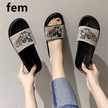 FEM Mickey Mouse Slides Women Shoes Crystal Slippers Women Thick Bottom Sandals Flats Fashion Bling Cartoon Slippers Cute Shoes