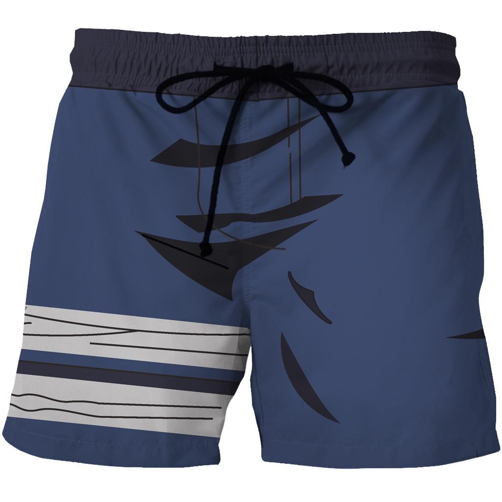 Digital Printed Men's Quick-drying Beach Shorts Cartoon Animation Printing Pocket Casual Shorts On Both Sides Of The Printing