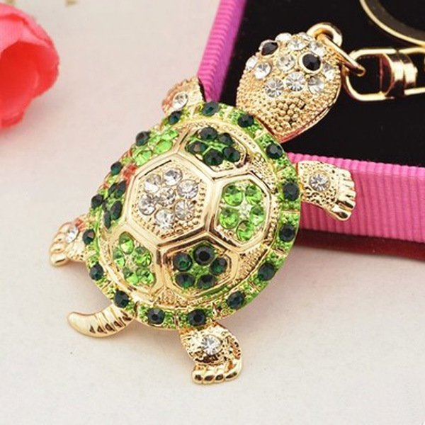 Fashion Colorful Rhinestone Turtle Keychain Cute Gold Color Animal Pendant Bag Car Key Chains Keyring With Buckle Accessories(China)