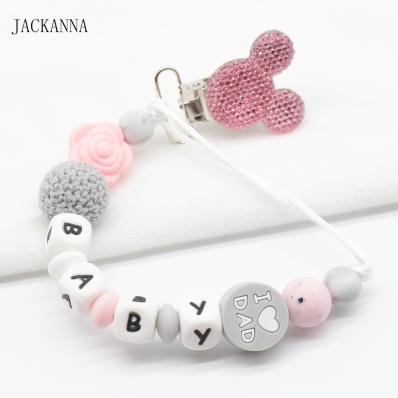 Personalize Name Baby Pacifier Clips Mouse Head Dummy Clip Baby Attache Sucette Newborn Gift Silicone Baby Pacifier Holder Chain