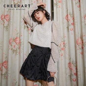 CHEERART diseñador blanco Puff manga larga blusa mujer verano Top Polka Dot blusa señoras ropa de moda coreana