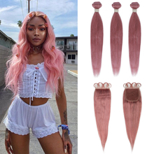 Remy Forte Bundles With Closure Straight Pink Blonde Human Hair Bundles With Closure