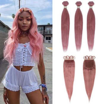 Remy Forte Bundles With Closure Straight Pink Blonde Human Hair Bundles With Closure 3 Brazilian Hair Extension Weave Bundles yyong straight hair bundles with closure brazilian hair weave 3 bundles remy human hair bundles with closure hair extension