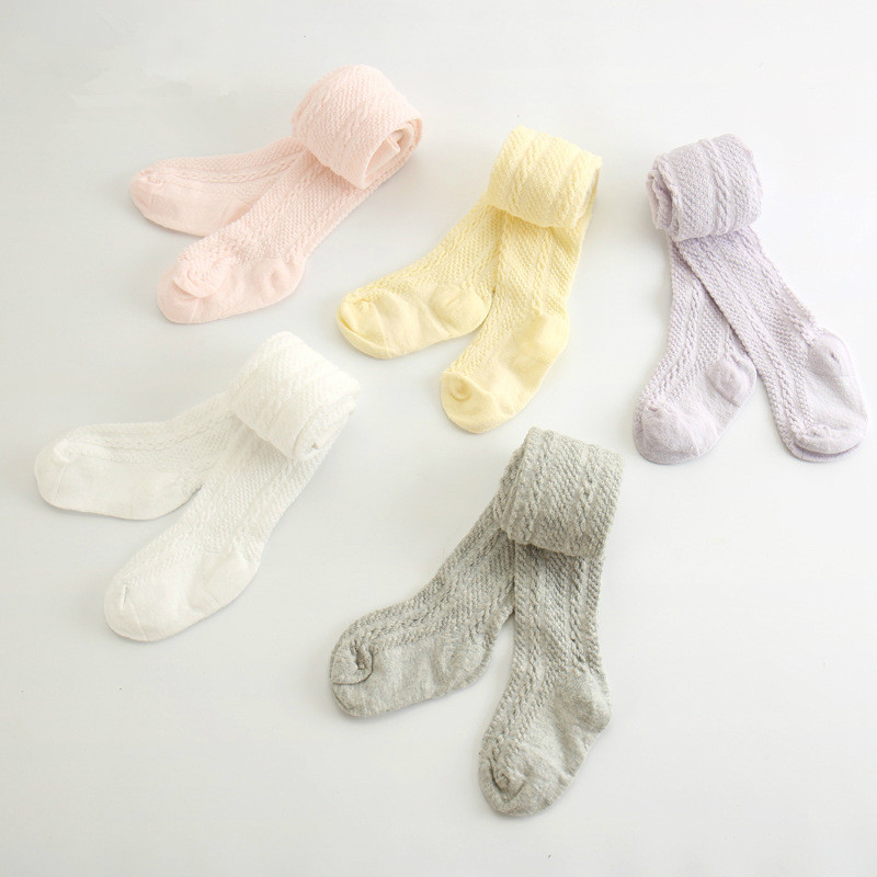 0-6 Yrs Spring Summer Autumn Cute Baby Girls Mesh Cable Knit Tights Cotton Breathable Pantyhose For Toddler Girls Sale