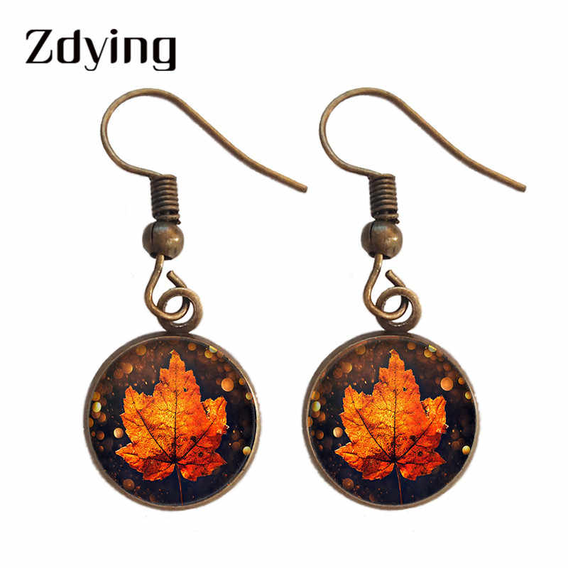 Zdying Vintage Retro Maple Daun Menjuntai Anting-Anting Kaca Cabochon Foto Drop Anting-Anting Pesta Pernikahan Ulang Tahun Perhiasan FY005