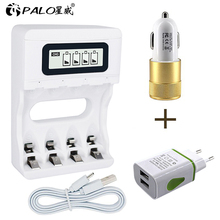 PALO USB แบตเตอรี่ Charger สำหรับ AA AAA 3A 1.2V Ni MH Ni Cd หน้าจอ LCD Smart Charger FAST CHARGING