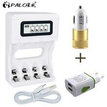 パロ Usb バッテリー充電器 AA AAA 3A 1.2 9v ニッケル水素ニッカド充電式電池液晶画面スマート充電器高速充電