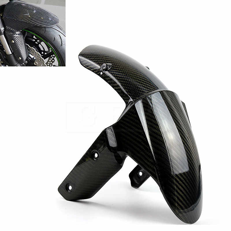 Zx 10r motocicleta de fibra carbono frente fender capa protetor paralama carenagem acessório para kawasaki z800 z1000 zx6r zx10r