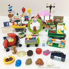 Fit City Series Fun on the Street Pizza Man Bus Station Hot Dog 331Pcs 8 Minifigs in 1 Set Mini Figures Pack Gifts Kids
