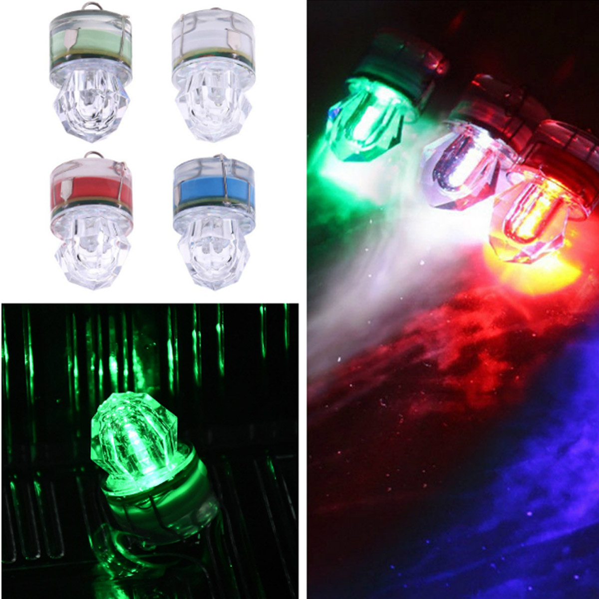 15x  Mini ABS LED Waterproof Fishing Bait Light Squid Fishing Lures Bait Deep Drop Diamond Underwater Fish Lure Lamp Lights Lamp
