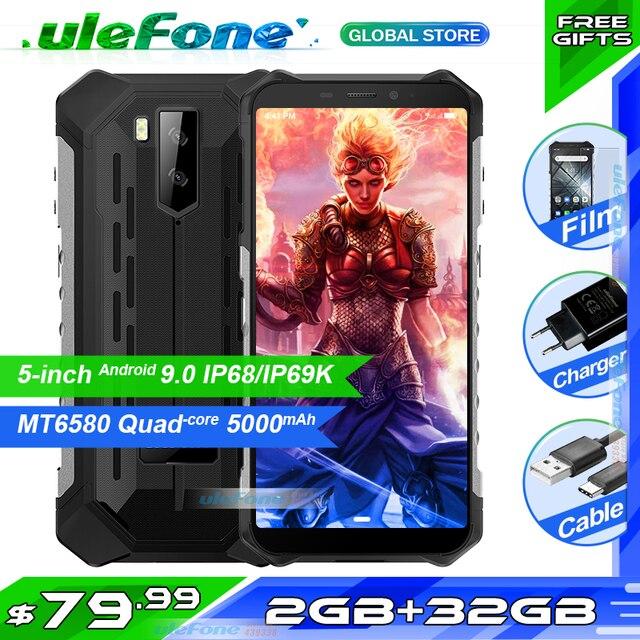 "Ulefone Rüstung X3 5.5 ""HD IP68 Wasserdichte Smartphone 2GB 32GB Android 9,0 Quad Core Gesicht ID Entsperren 3G Handy 5000mAh"