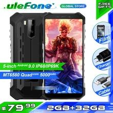 """Ulefone 갑옷 X3 5.5 """"HD IP68 방수 스마트 폰 2 기가 바이트 32 기가 바이트 안 드 로이드 9.0 쿼드 코어 얼굴 ID 잠금 해제 3 세대 휴대 전화 5000mAh"""