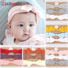 Balleenshiny 3pcs/lot Cotton Bow Infant Baby Girls Headband Children's Stretch Hair Band Baby Shower Birthday Party Headwear(China)