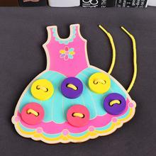 Kuulee Toddler Sew On Buttons Kids Educational Toys Hedgehog Skirt Lacing Board Wooden Toy Early Education