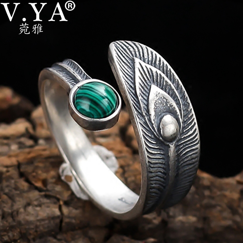 V.YA 925 Stering Silver Peacock Feather Ring With Malachite Open Ring Vintage Thai Silver Ring For Women Adjustable Size|Rings|   - AliExpress