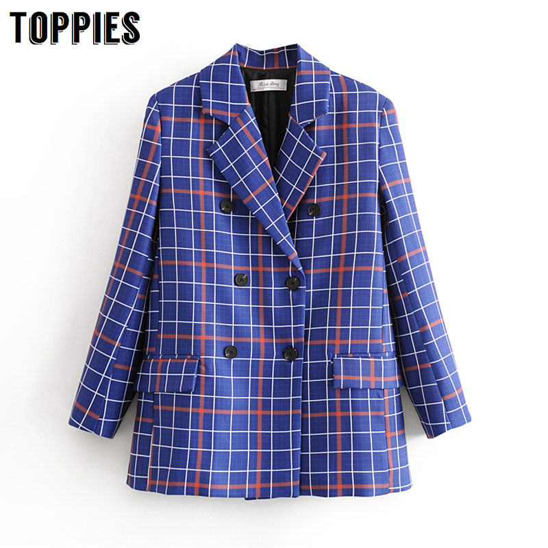 2020 Blue Plaid Suit Jacket Women Double Breasted Blazer Office Ladies Fromal Blazer Plus Size Women Suits
