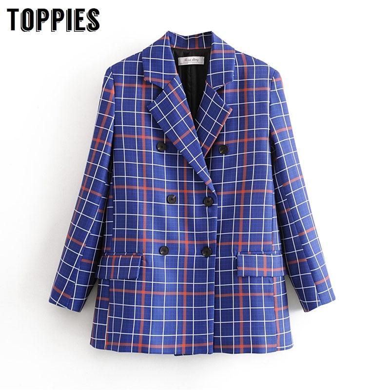 2020 Blue Plaid Suit Jacket Women Double Breasted Blazer Office Ladies Fromal Blazer Plus Size Women Suits