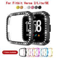Funda para Fitbit Versa1 2 SE Versa 3 Sense Lite cubierta chapada en PC carcasa de reloj Protector de cristal de diamante para Fitbit Versa
