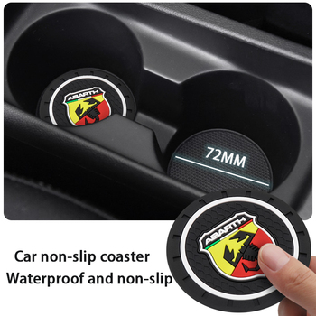 1pcs Fashion Car Coaster Silicone Water Cup Mat Epoxy Coaster Car Decoration for Abarth- 500 595 1100 Stilo Ducato Palio image