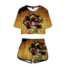 Anime One Piece Monkey D Luffy 3D Print Two Piece Sets Women Sexy Shorts T Shirt TShirt Tops Tee Girl Tracksuit Summer Clothes(China)