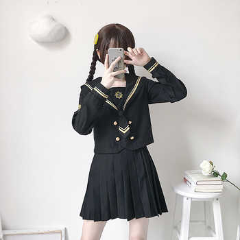 Japanese School Uniforms JK Suits Black Skirts Female Dresses Sailor Costumes Dress Girls Embroidery Costumes Clothes for Women - DISCOUNT ITEM  30 OFF Novelty & Special Use