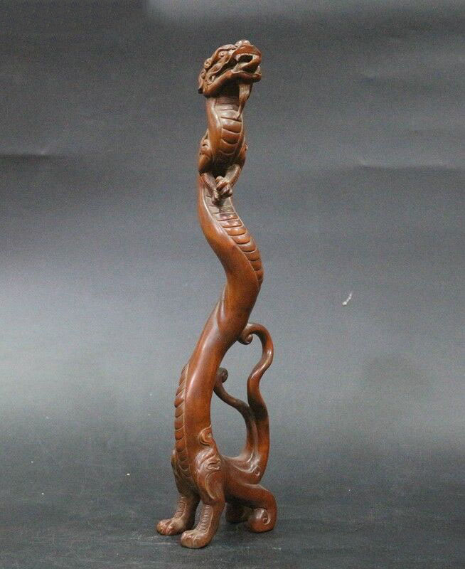 Wedding Decoration Old China Boxwood Wood Hand Carved Fengshui Auspicious Beast Dragon Loong Statue