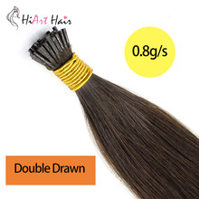 "HiArt 0.8g/s Flat Tip Hair 100% Real Human Hair Salon Double Drawn Fusion Hair Extension Factory Remy Hair Straight 18""20""22""(China)"