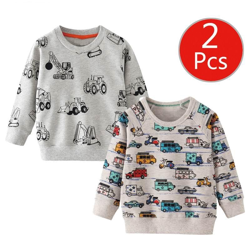 SAILEROAD 2pcs Sweatshirt for Kids Cartoon Vehicle Car Warm Sweatshirt for Children Long Sleeve T Shirts Autumn Boys Clothes 4Yr 1