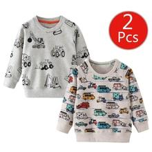 SAILEROAD 2 قطعة البلوز للأطفال الكرتون سيارة مركبة الدافئة البلوز للأطفال طويلة الأكمام قمصان الخريف الفتيان الملابس 4Yr