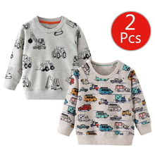 SAILEROAD 2pcs Sweatshirt for Kids Cartoon Vehicle Car Warm Sweatshirt for Children Long Sleeve T Shirts Autumn Boys Clothes 4Yr