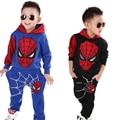От 2 до 8 лет, Детская куртка с капюшоном, комплект одежды Человека-паука для мальчиков хлопковый спортивный костюм, комплект детской одежды ...