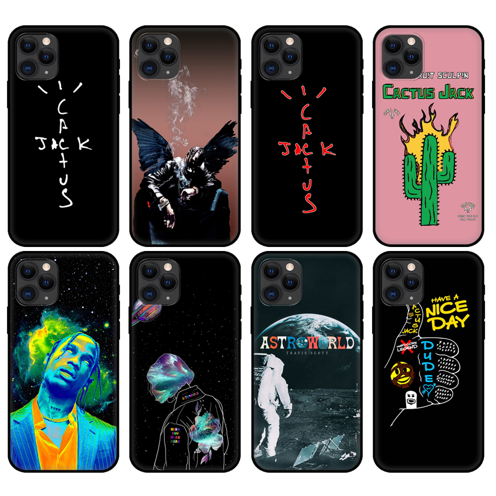 Black tpu case for iphone 5 5s se 2020 6 6s 7 8 plus x 10 cover for iphone XR XS 11 pro MAX case cactus jack travis scott hiphop