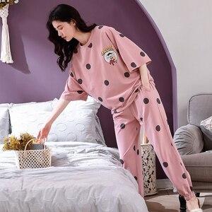 Image 5 - 4XL młoda dziewczyna bielizna nocna zestawy luźne ubrania wiosna cienka krótki rękaw kobiety piżamy Dot drukowanie piżamy urocza odzież domowa