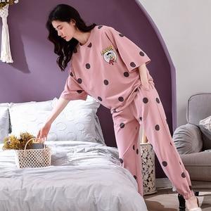 Image 5 - 4XL 少女パジャマセットレジャー服春薄型半袖女性パジャマドット印刷パジャマ素敵なホーム服