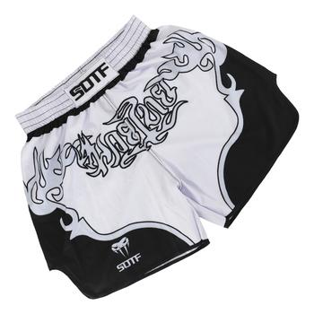 Muay Thai męskie damskie dzieci i młodzież Taekwondo walki szorty MMA Sanda walki darmowe walki trening Fitness szorty tanie i dobre opinie suotf CN (pochodzenie) POLIESTER trunks 0002 BOKS Dobrze pasuje do rozmiaru wybierz swój normalny rozmiar Drukuj muay thai boxing shorts