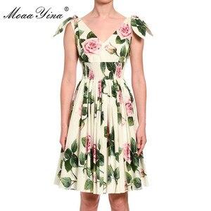 Image 2 - MoaaYina robe de créateur de mode printemps été robe pour femme col en v imprimé fleuri robes de vacances