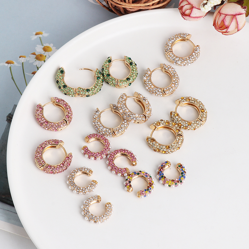 JUJIA Luxury Simulated Pearl Crystal Small Earrings For Women Bohemian Glass Ear Cuff Brincos Fashion CZ Jewelry