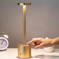 Einfache LED Schreibtisch Lampe Nordic Stil Wiederaufladbare 3-Getriebe Touch Dimmbare Lampe Augenschutz Nacht Licht für Home Restaurants bars