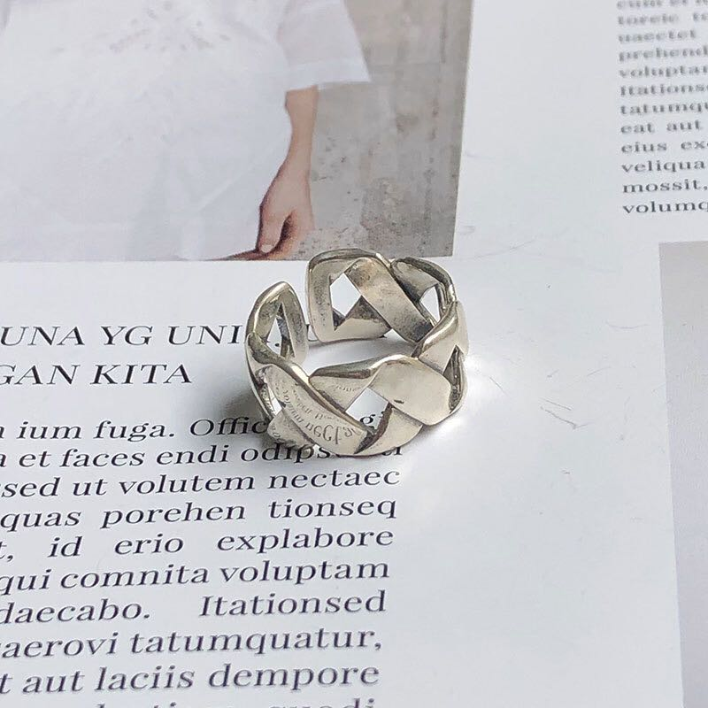Bohemian Ethnic Silver Color Big Cross Chain Rings for Women Bridal Wedding Vintage Open Finger Rings Christmas Gifts 2