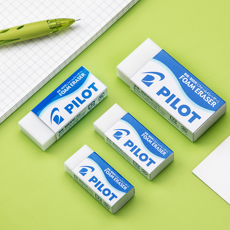 PILOT Eraser ER-F6 F8 F10 F20 Normal Foam Plastic Rectangle White Erase Clean 4 Sizes Available Student Office Stationery