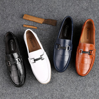 New Men Shoes Leather Flats Casual Loafers Men Moccasins Shoes Slip on Men Shoes Leather Genuine Lightweight Driving Shoes 2019
