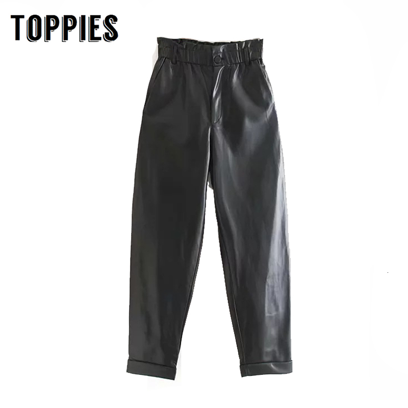 2019 Faux Leather Pants Women Harem Pants High Waist Loose Black Pu Trousers High Street Pantalones Mujer