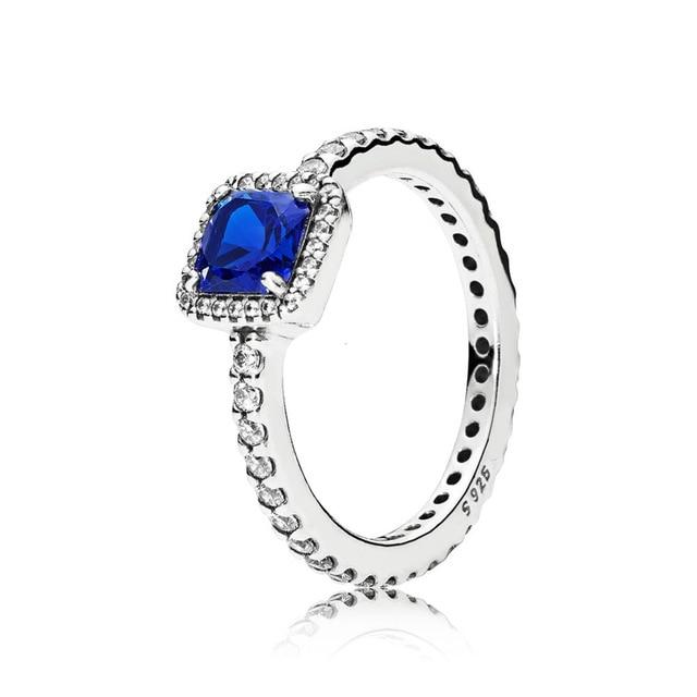 Keris Store  100% Sterling Silver 1:1 Glamour 190947NBT BLUE TIMELESS ELEGANCE RING Original Women Wedding Fashion Jewelry