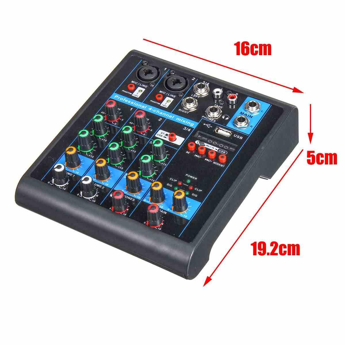 ミニ 4 チャンネルオーディオミキサー USB bluetooth MP3 ライブスタジオ Dj サウンドミキシングコンソールカラオケコンピュータ 48 48v ファンタム電源 ktv