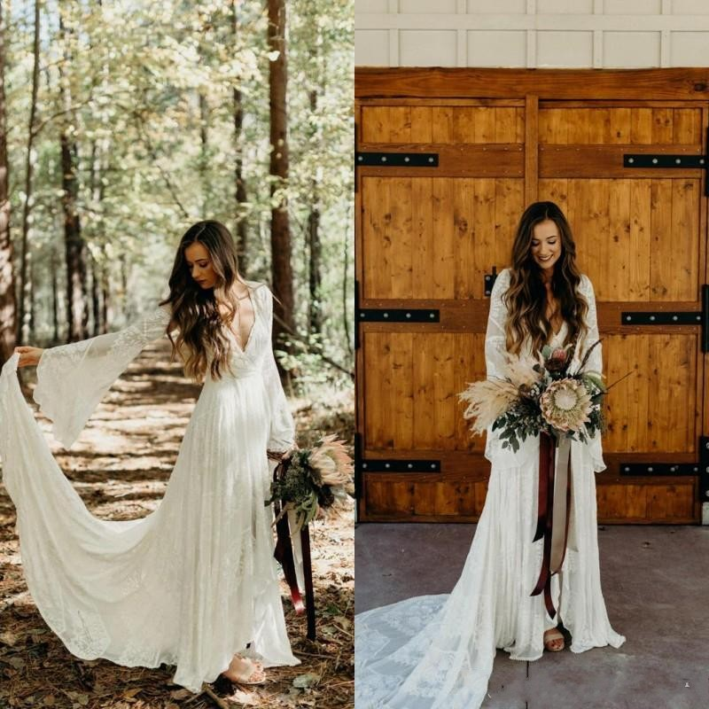 Super Sale 728c28 Country Style Boho Cheap Plus Size Lace Wedding Dresses Long Sleeves V Neck A Line Beach Wedding Gowns Bohemian Wedding Dress Cicig Co