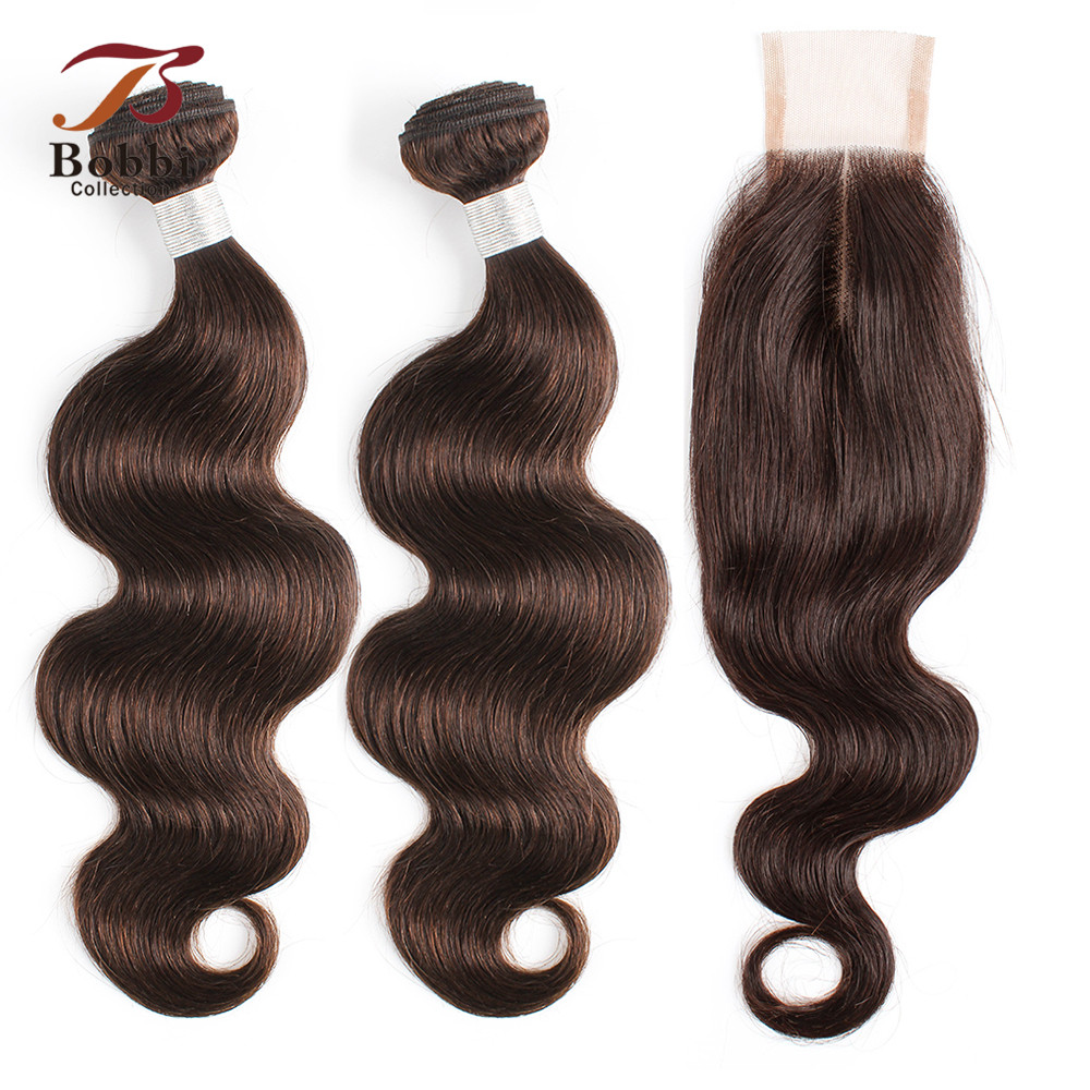 BOBBI COLLECTION Indian Body Wave Bundles With 2x6 Closure Natural Brown Non Remy Human Hair Weave 2/3 Bundles With Lace Closure