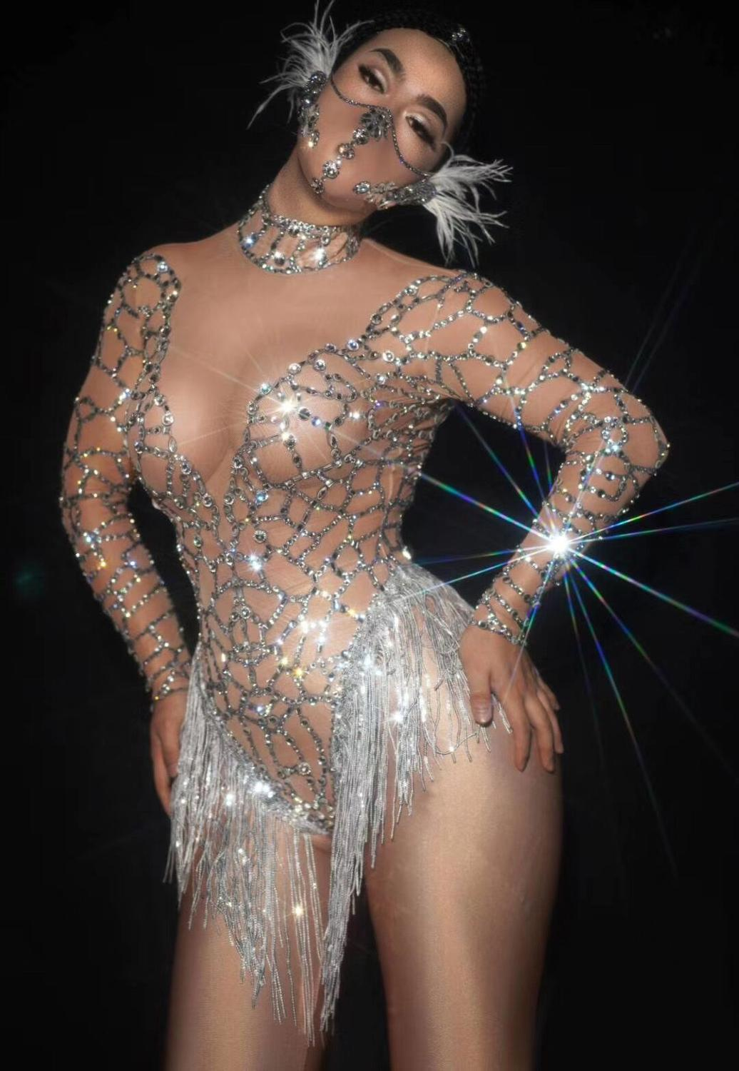 2020 Hot Sale Women O Neck Long Sleeves With Diamonds Tassels Sexy See Through Night Club Wear Consumes Bodysuits