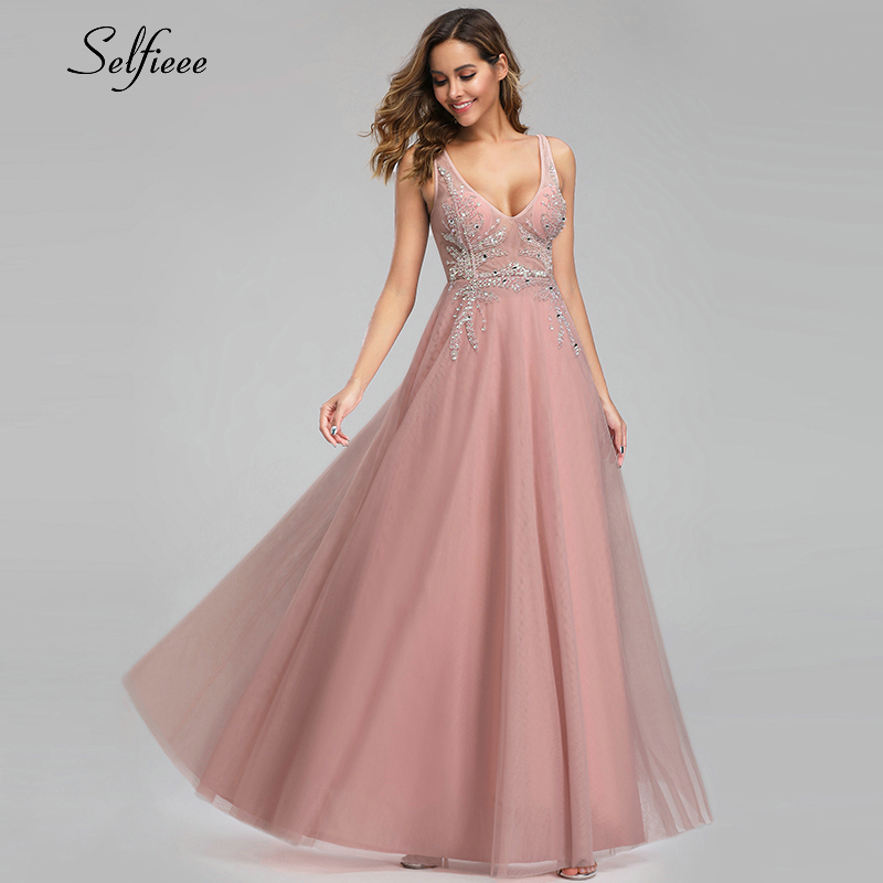 Sexy Women Dress A-Line V-Neck Sleeveless See-Through Beaded Tulle Ladies Maxi Dress Women Elegant Party Gowns Lange Jurken 2019