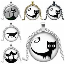 2019 New Hot Cartoon Cute Cat Series Glass Convex Round Pendant Necklace Fashion Popular Jewelry Ladies